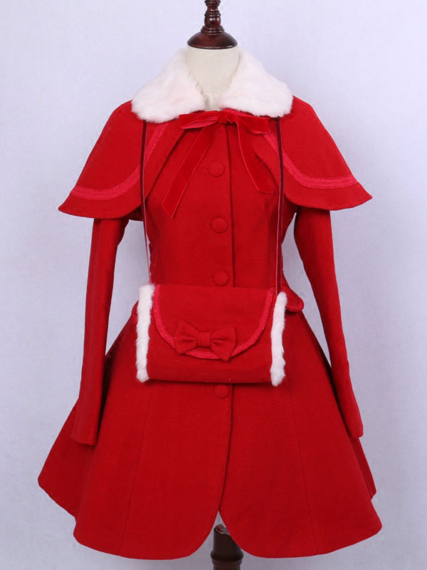Buy Classic Lolita Outfits Wool Long Sleeve Faux Fur Collar Ribbons Bows Red Dress Coat With Cape And Gloves for $179.99 in Milanoo store