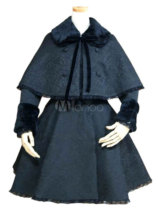 Buy Gothic Lolita Outfits Long Sleeve Pleated Ribbons Turndown Collar Black Dress Coat With Cape for $179.99 in Milanoo store