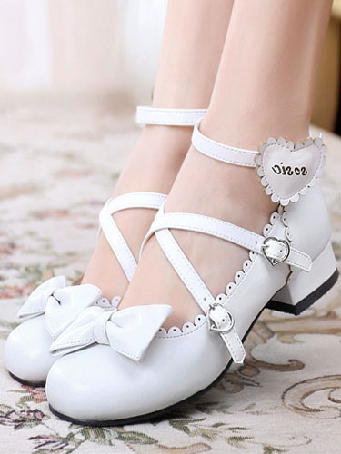 Sweet Lolita Shoes Round Toe Chunky Heel Bows Cross Cross White Lolita Shoes