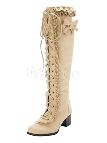 Rococo Lolita Boots Knee High Round Toe Chunky Heel Lace Up Bows Suede Light Apricot Lolita Winter Boots