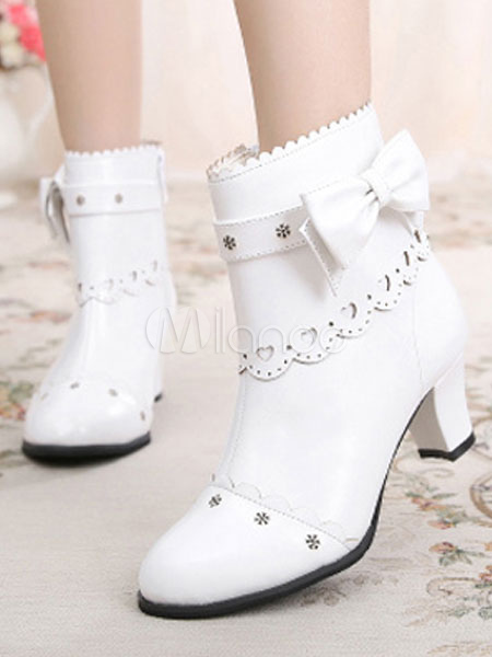 Classic Lolita Ankle Boots Round Toe Prism Heel Bows White Lolita Winter Booties