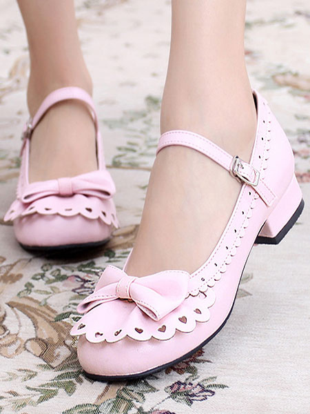 Sweet Lolita Shoes Round Toe Chunky Heel Bows Cut Out Pink Lolita Shoes