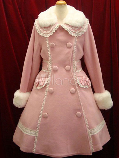Buy Classic Lolita Coat Wool Long Sleeve Lace Turndown Collar Faux Fur Two Tone Double Breasted Bows Soft Pink Lolita Winter Dress Coat for $156.59 in Milanoo store