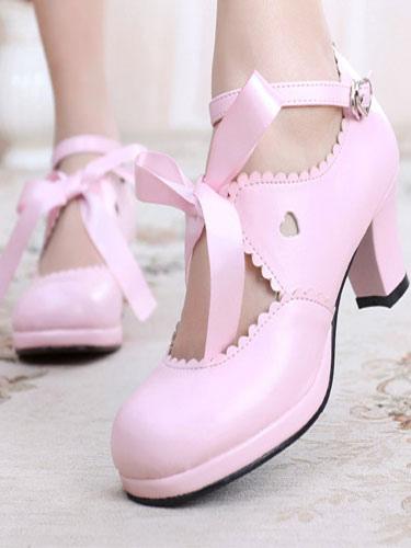 f99b527dc94b Classic Lolita Shoes Square Toe Platform Prism Heel Bows Deep Brown Lolita  Shoes-No.