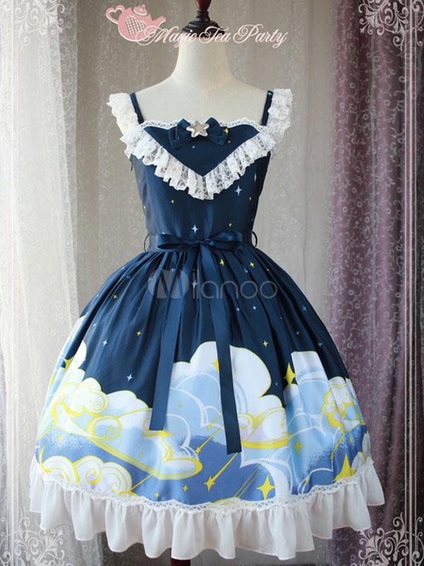 Buy Classic Lolita JSK Jumper Skirt Magic Tea Party Ruffles Sleeveless Bows Printed Dark Navy Lolita Dress for $71.99 in Milanoo store