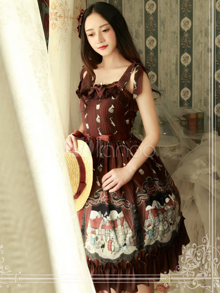Buy Classic Lolita JSK Jumper Skirt Magic Tea Party Chiffon Printed Sleeveless Square Neck Ruffles Bows Frills Dark Brown Lolita Dress for $85.99 in Milanoo store