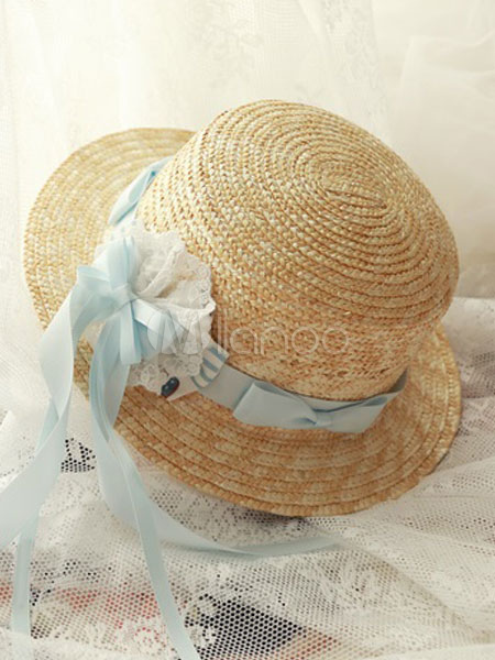 Buy Classic Lolita Strawhat Magic Tea Party Baby Blue Ribbons Bows Lolita Hat for $22.99 in Milanoo store