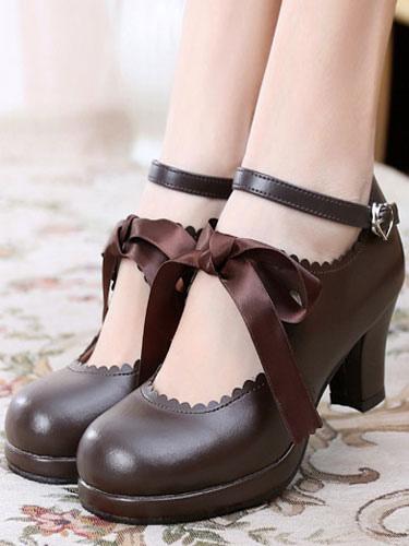 Classic Lolita Shoes Square Toe Platform Prism Heel Bows Deep Brown Lolita Shoes