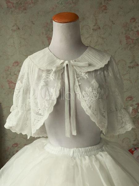 Classic Lolita Cover Up Magic Tea Party Lace Bows Ruffles Peter Pan Collar White Lolita Top