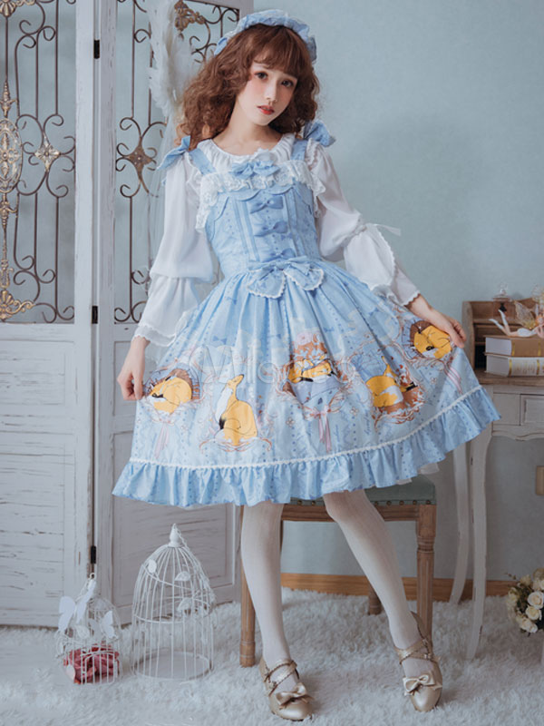 Buy Classic Lolita JSK Jumper Skirt Magic Tea Party Chiffon Sleeveless Straps Ruffles Bows Fox Printed Light Blue Lolita Dress for $74.69 in Milanoo store