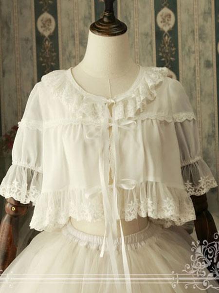 Buy Classic Lolita Cover Up Magic Tea Party Chiffon Round Neck Ruffles White Lolita Top for $33.29 in Milanoo store