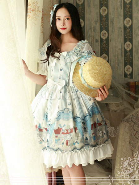 Buy Classic Lolita OP One Piece Dress Magic Tea Party Chiffon Printed Short Sleeve Square Neck Ruffles Bows Frills Light Blue Lolita Dress for $85.49 in Milanoo store