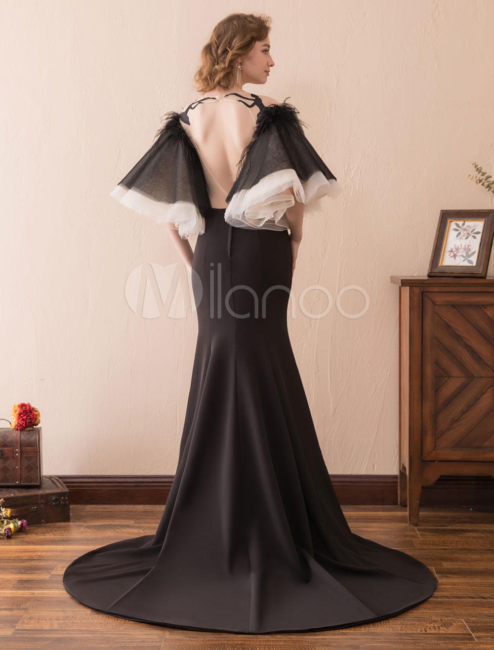 52223fb4457fd ... Black Evening Dresses Mermaid Long Prom Dress Bell Sleeve Ruffles Illusion  Satin Formal Dresses-No ...