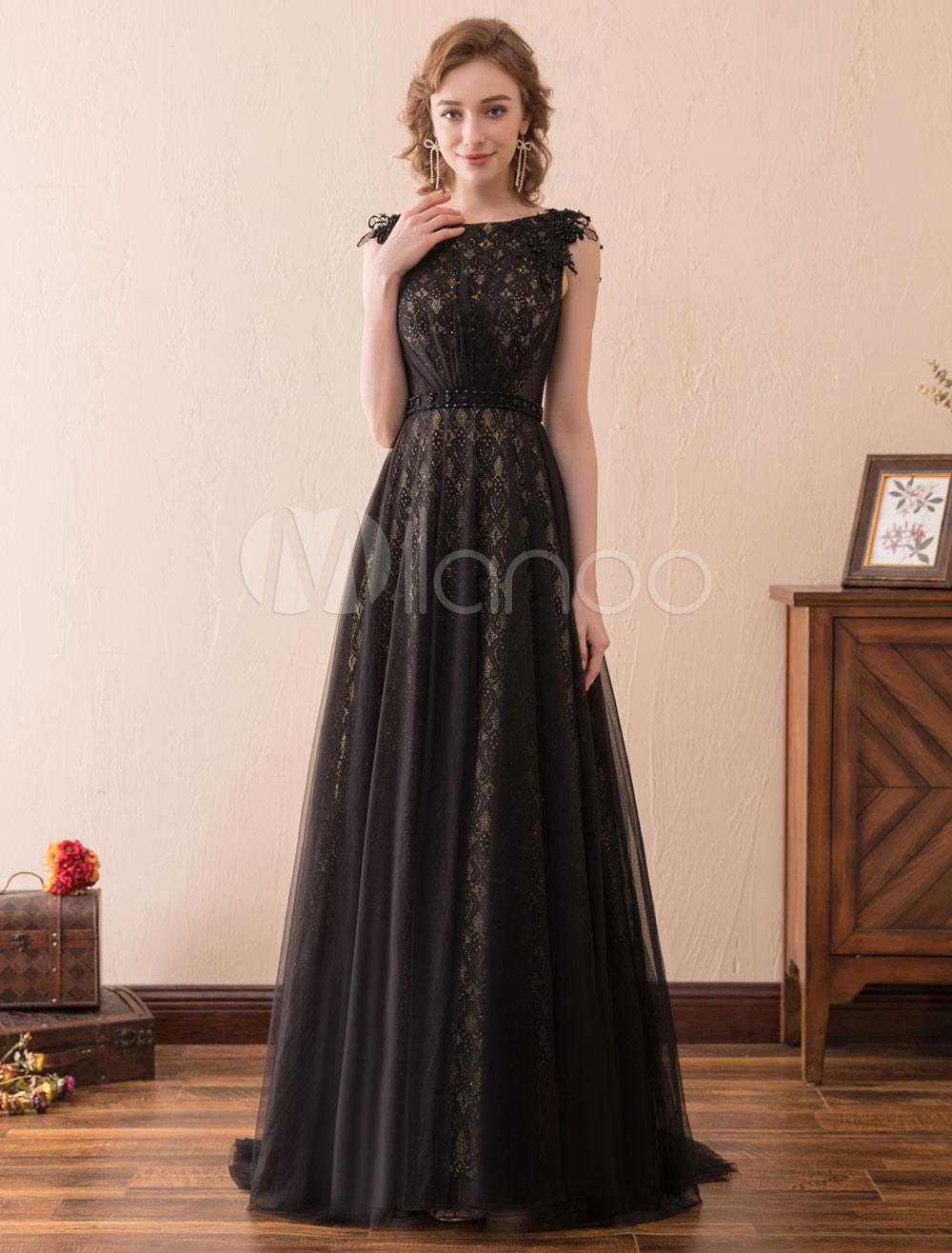 cfb5b68d748 Черные вечерние платья Кружевные длинные платья выпускного вечера  Официальные свадебные платья для гостя-No.