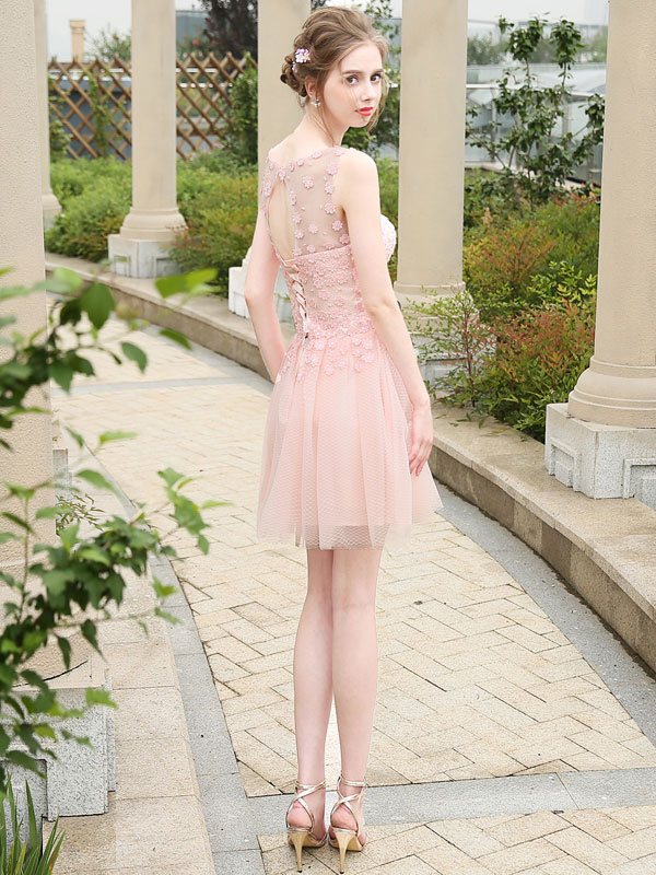 Short Prom Dress Soft Pink Homecoming Dress Tulle Illusion Mini ...