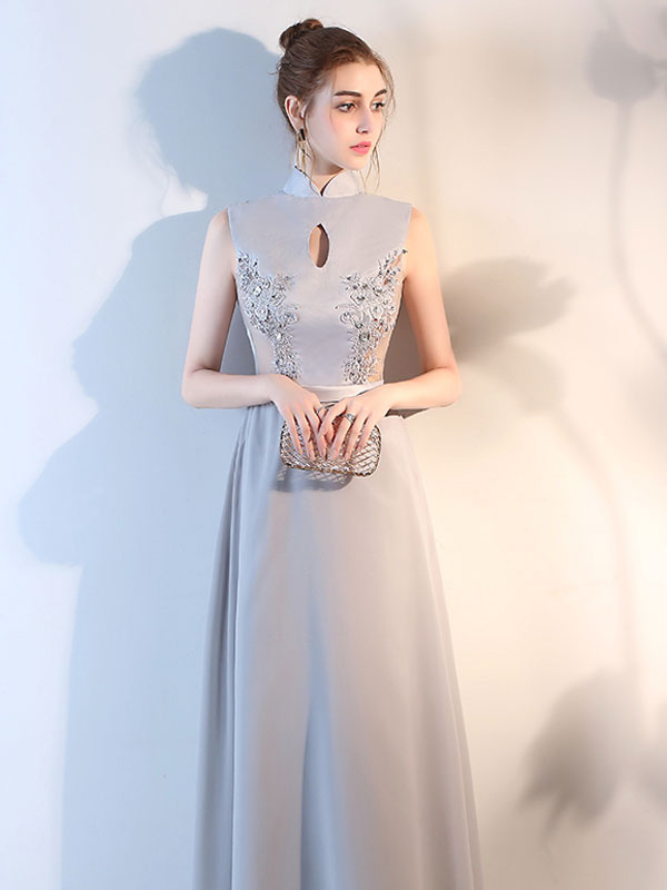 7b2f8b6797b700c Вечерние платья Серебряный высокий воротник Формальное платье кружева  Бисероплетение вырез платье шифона платье-No.