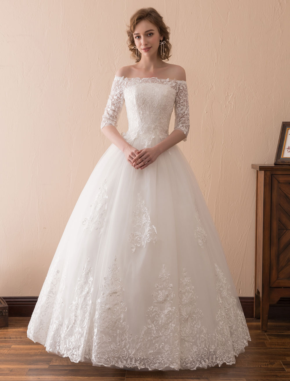 eb43f1dd21 ... Half Sleeve Floor Length Bridal Dress-. 123. 45%OFF. Color Ivory