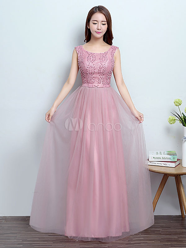 Buy Prom Dresses Long Cameo Pink Beaded Backless Bow Sash Floor Length Formal Occasion Dress for $57.19 in Milanoo store