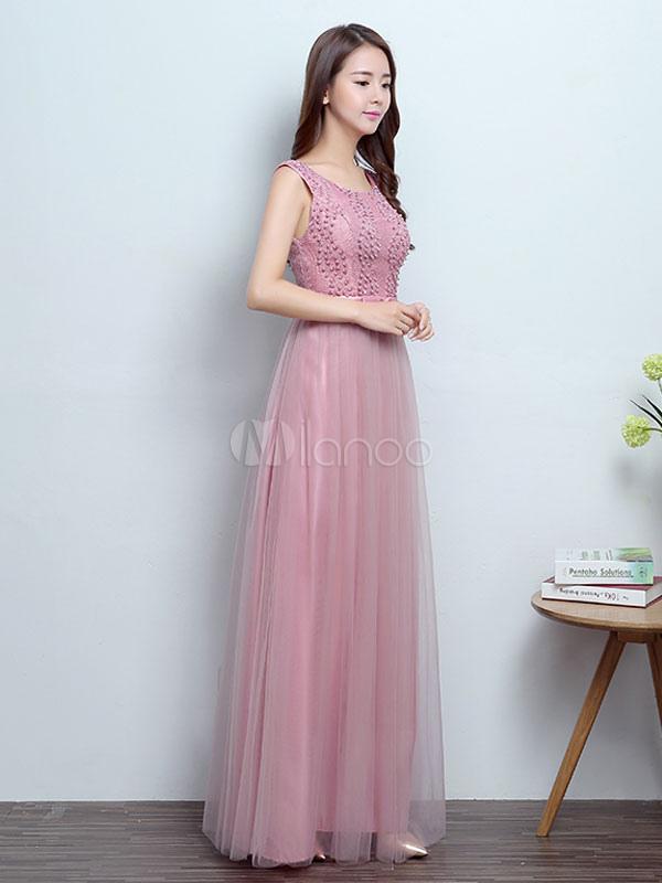 Vestidos de baile largo camafeo rosa con cuentas sin respaldo arco ...