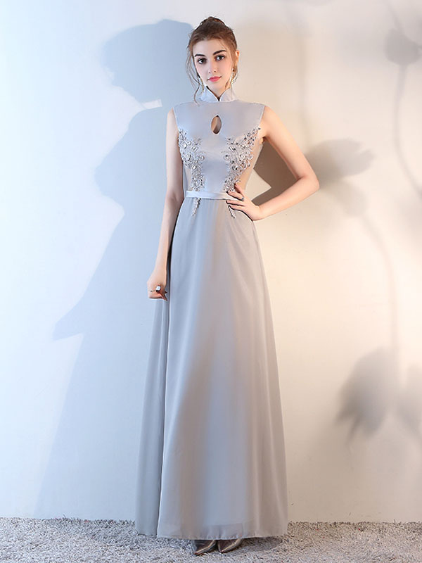 Evening Dresses Silver High Collar Formal Dress Lace Beading Cutout Sash Chiffon Occasion Dress