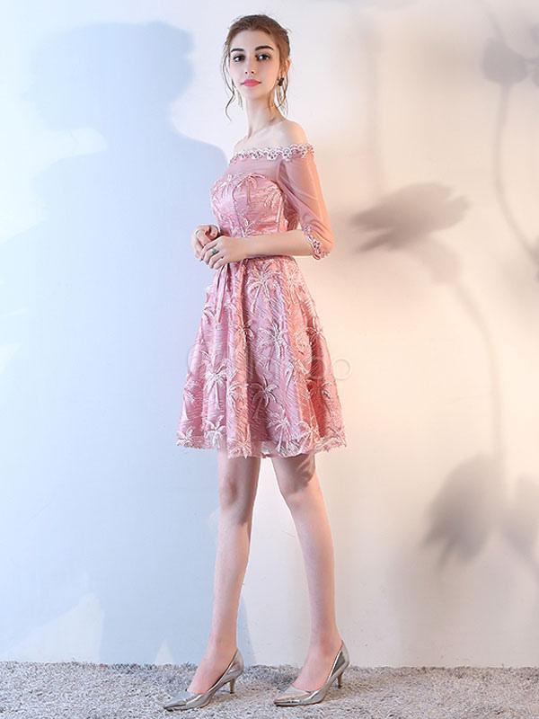 Vestido de fiesta barato de línea A mini con escote barco con 1/2 ...