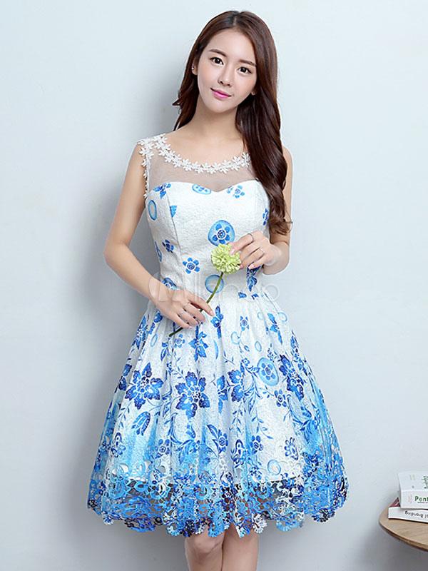 gute Qualität kauf verkauf gut kaufen Homecoming Kleider Kurz Blau Graduation Kleid Gedruckt Illusion Cocktail  Party Kleid