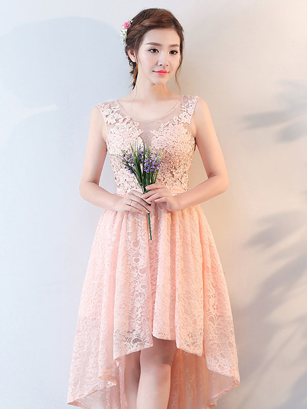 Homecoming Dresses Lace High Low Cocktail Dress Peach Beaded Keyhole ...