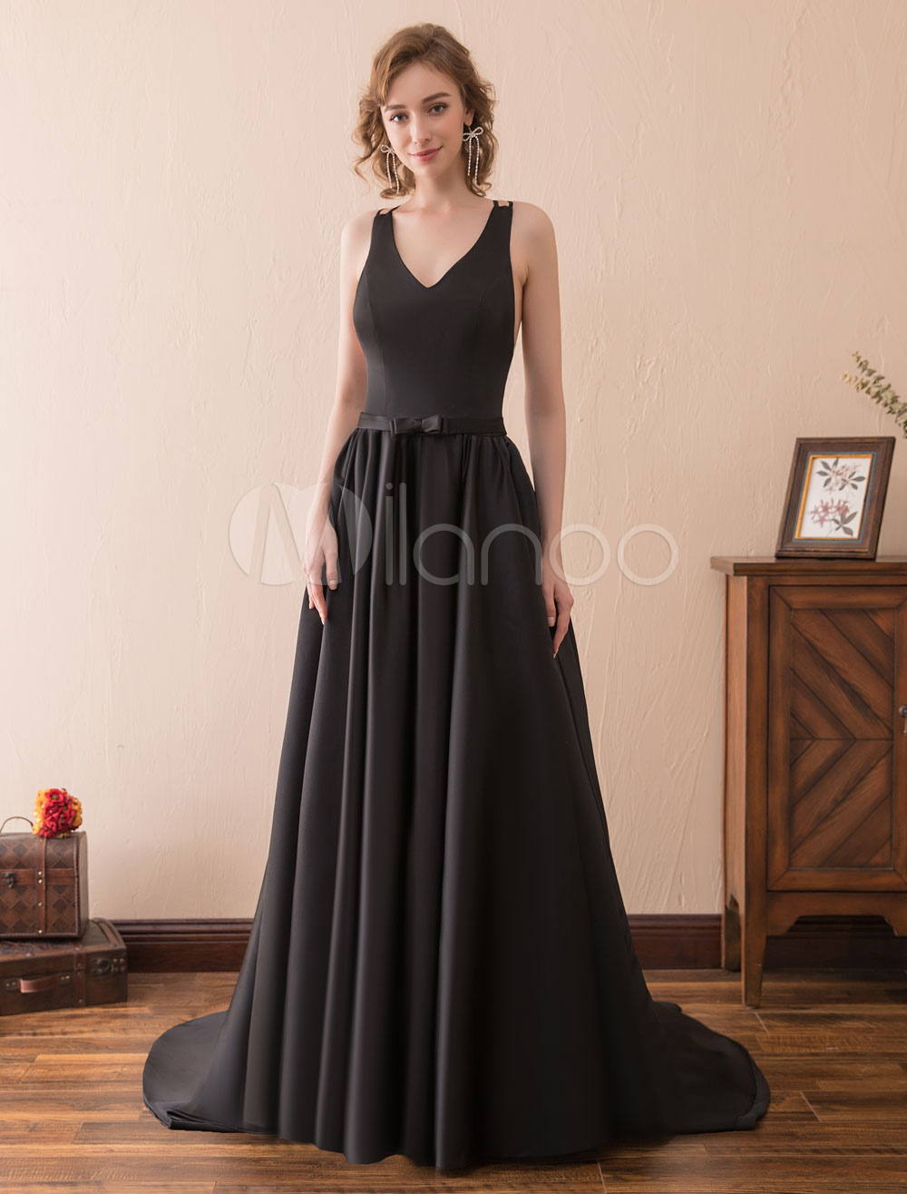 Buy Black Prom Dresses Long Satin Evening Gown Back Cross V Neck Bow Sash Formal Occasion Dress With Train for $100.79 in Milanoo store