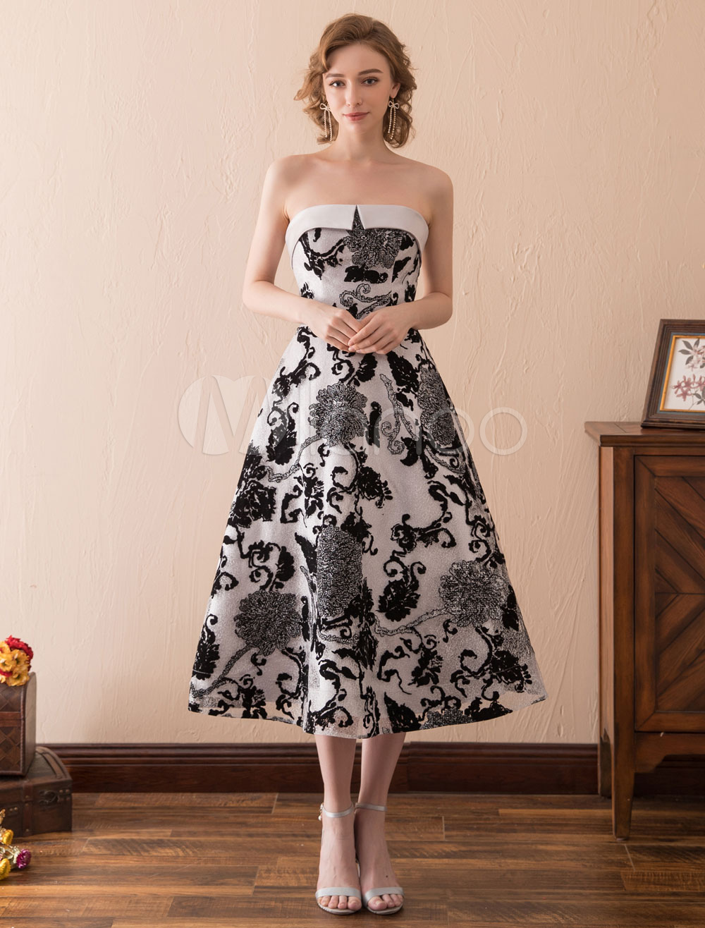 Buy Black Cocktail Dresses African Print Strapless Lace Sash Tea Length Formal Party Dress for $76.49 in Milanoo store