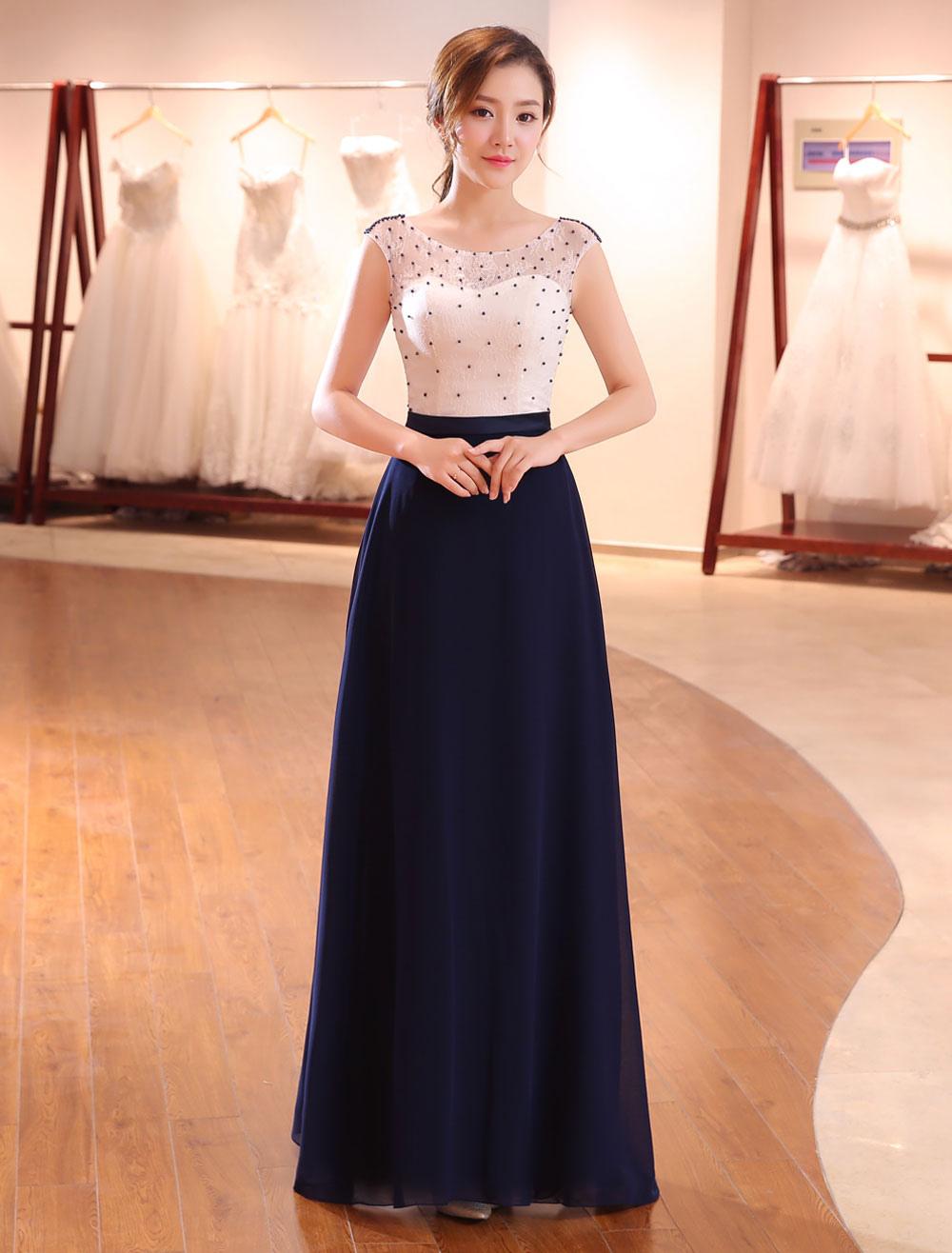 Evening Dresses Dark Navy Lace Formal Dress Illusion Beaded Contrast Color Floor Length Wedding Guest Dress