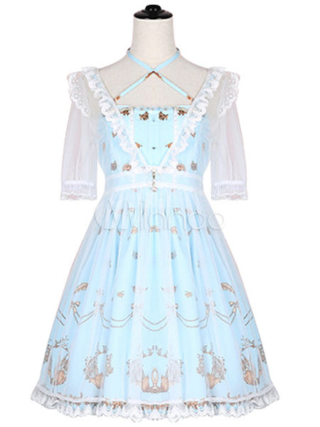 Buy Classic Lolita OP One Piece Dress Chiffon Square Neck Short Sleeve Lace Ruffles Birds Print Pleated Light Blue Lolita Dress for $69.99 in Milanoo store