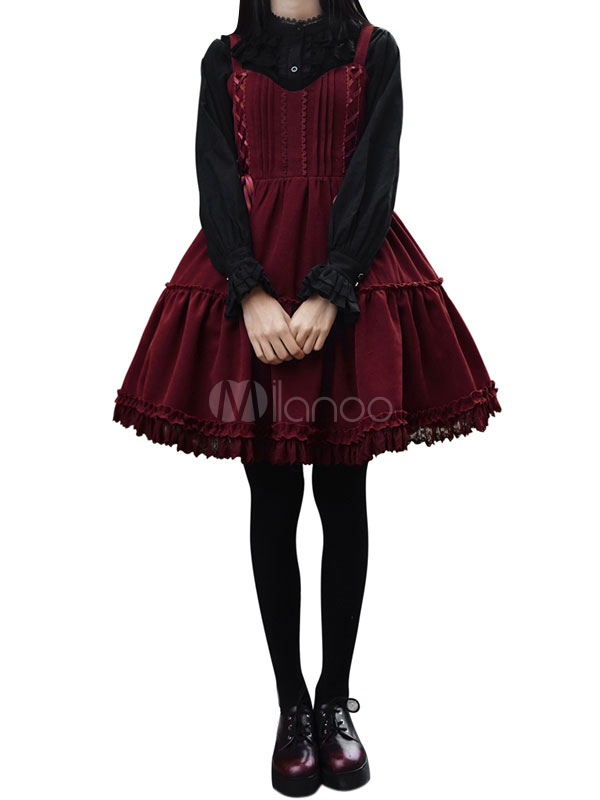 Classic Lolita JSK Jumper Skirt Straps Sleeveless Ruffles Pleated Suede Burgundy Lolita Dress