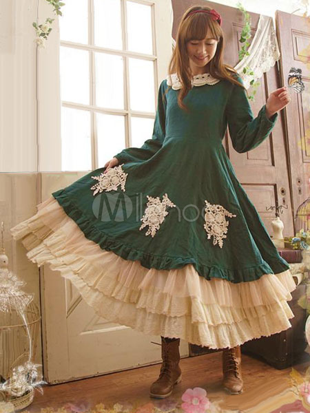 Buy Classic Lolita OP One Piece Dress Long Sleeve Lace Ruffles Frills Two Tone Peter Pan Collar Green Lolita Dress for $65.99 in Milanoo store