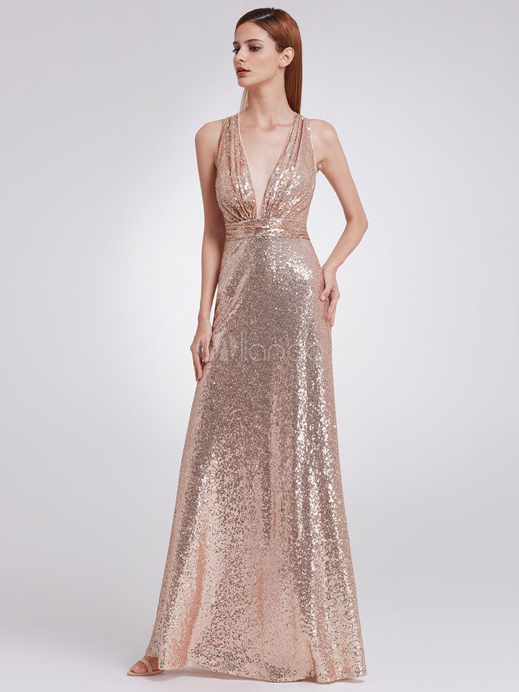 Evening Dresses Gold Sequin Formal Dress V Neck Back Cross Pleated Plunging Occasion Dress