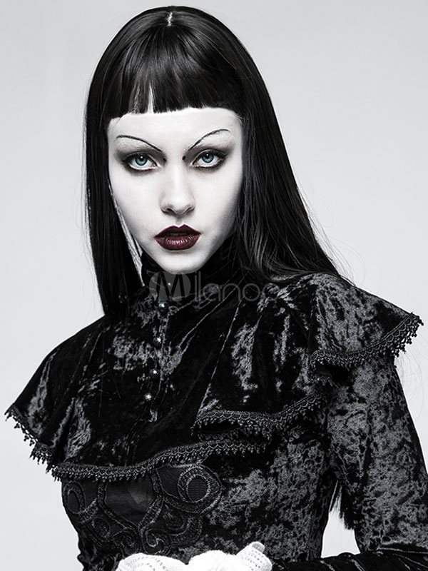 Buy Gothic Lolita Cape Ruffles Stand Collar Velour Black Lolita Top for $55.79 in Milanoo store