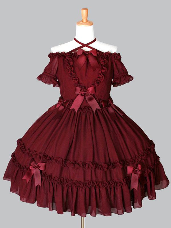 Buy Gothic Lolita OP One Piece Dress Off The Shoulder Halter Ruffles Bows Pleated Burgundy Lolita Dress for $114.99 in Milanoo store