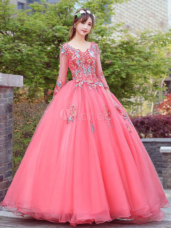 Vestido para quinceañeras Rojo coral con cuello en V con manga larga ...