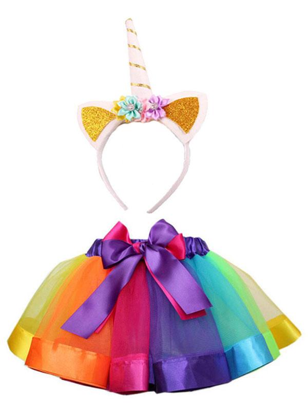 Girls Unicorn Halloween Costume Color Block Mini Skirt With Headband