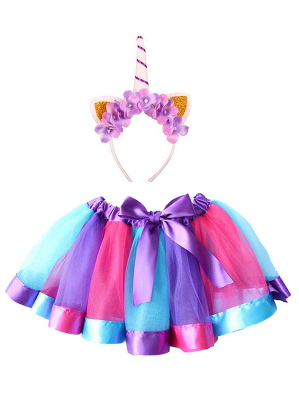 Meninas Unicórnio Traje De Halloween Brinquedo Da Cor Mini Saia Com