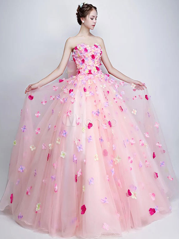 Buy Floral Quinceanera Dresses Soft Pink Strapless Pageant Dress Flowers Applique Sweetheart Neck Bow Princess Prom Gown for $158.39 in Milanoo store