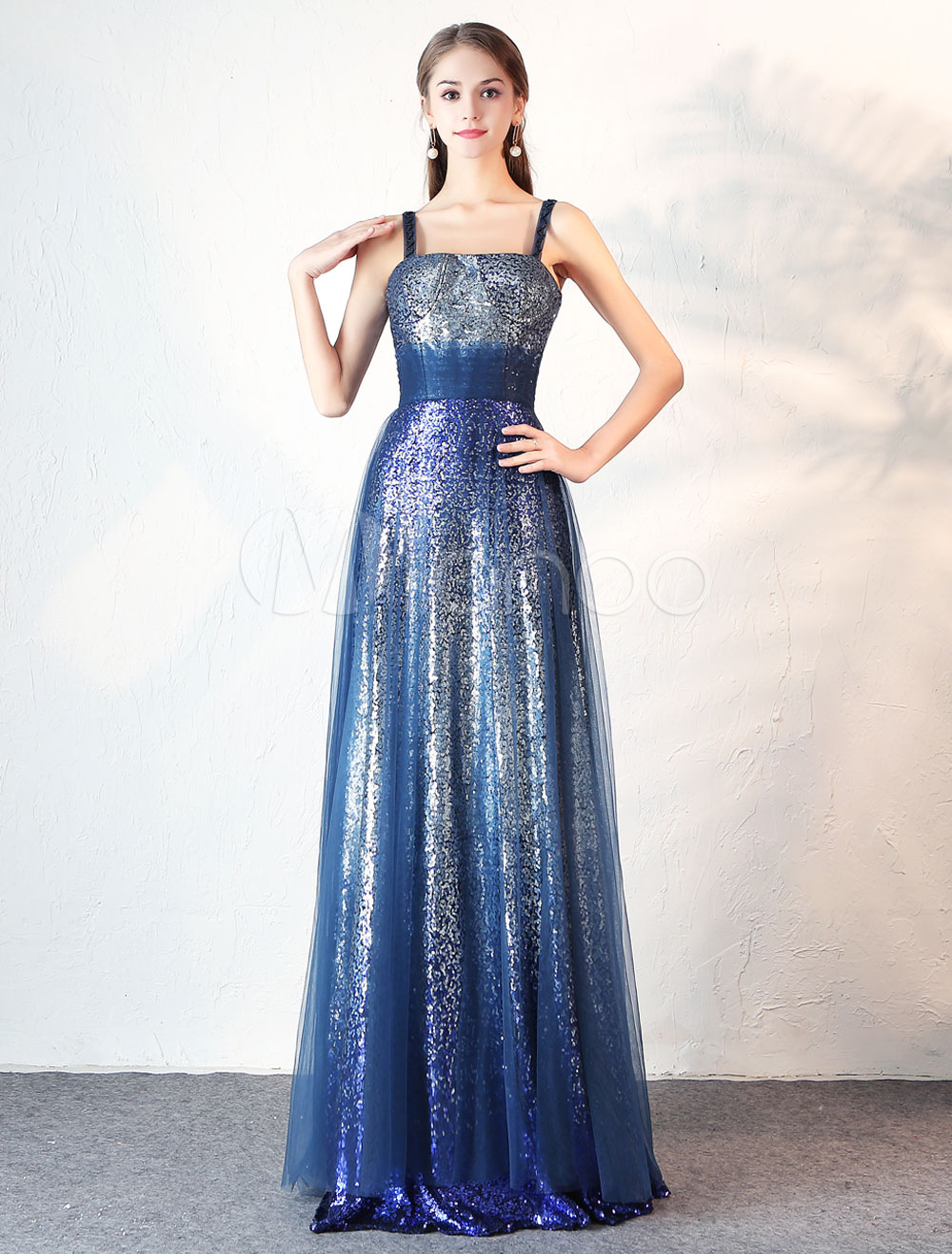 Buy Evening Dresses Sequin Blue Prom Dress Straps Pleated Waist Floor Length Formal Party Dress for $131.99 in Milanoo store