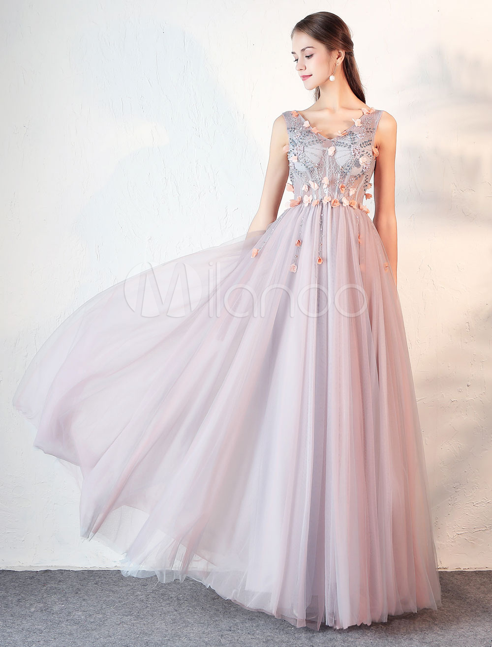 Prom Dresses Long Cameo Pink Tulle V Neck Flowers Beading Tulle Formal Party Dress