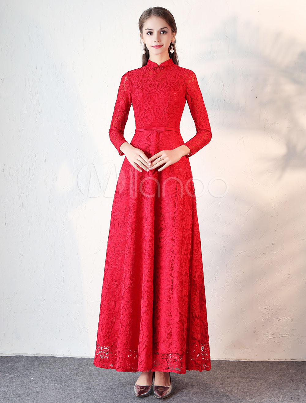 Buy Evening Dresses Burgundy Lace Long Sleeve Prom Dress Mandarin Collar Bow Sash Floor Length Formal Party Dress for $123.19 in Milanoo store