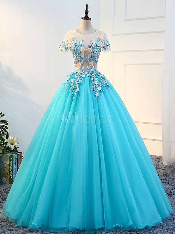 Princess Quinceanera Dresses Flowers Applique Pageant Dress Illusion Short Sleeve Illusion Aqua Tulle Prom Gown