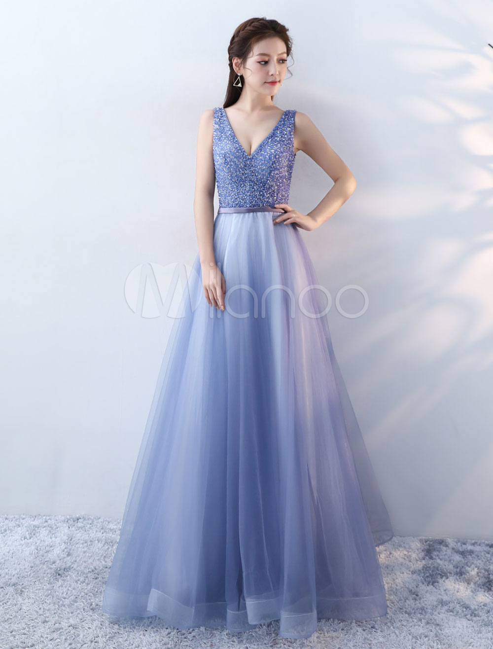 Prom Dresses Long V Neck Beaded Royal Blue Backless Floor Length Formal Party Dress
