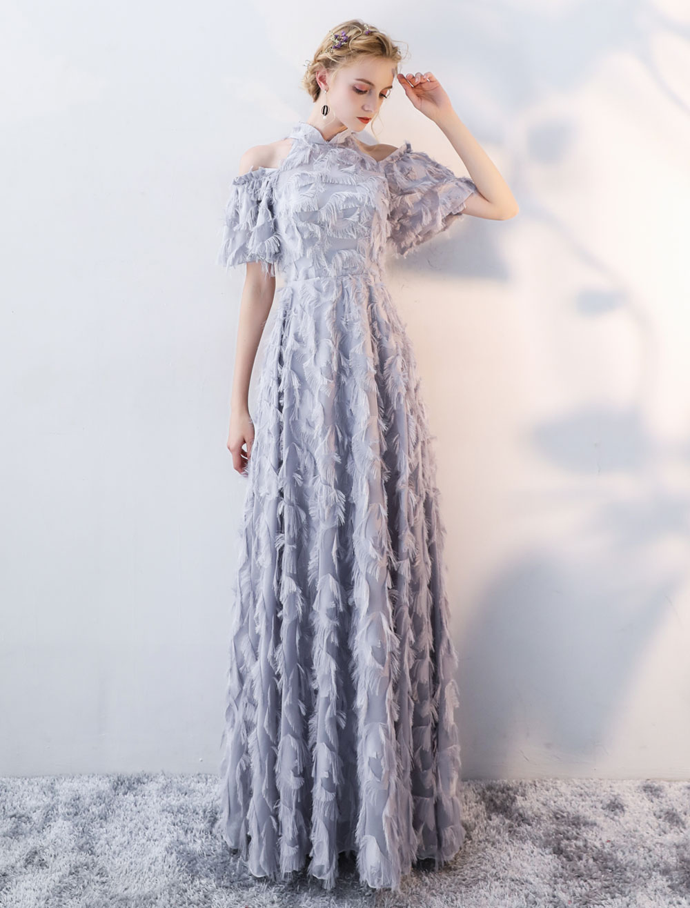 Prom Dresses Long Light Grey Cold Shoulder Evening Dress Lace Stand Collar Floor Length Formal Dress