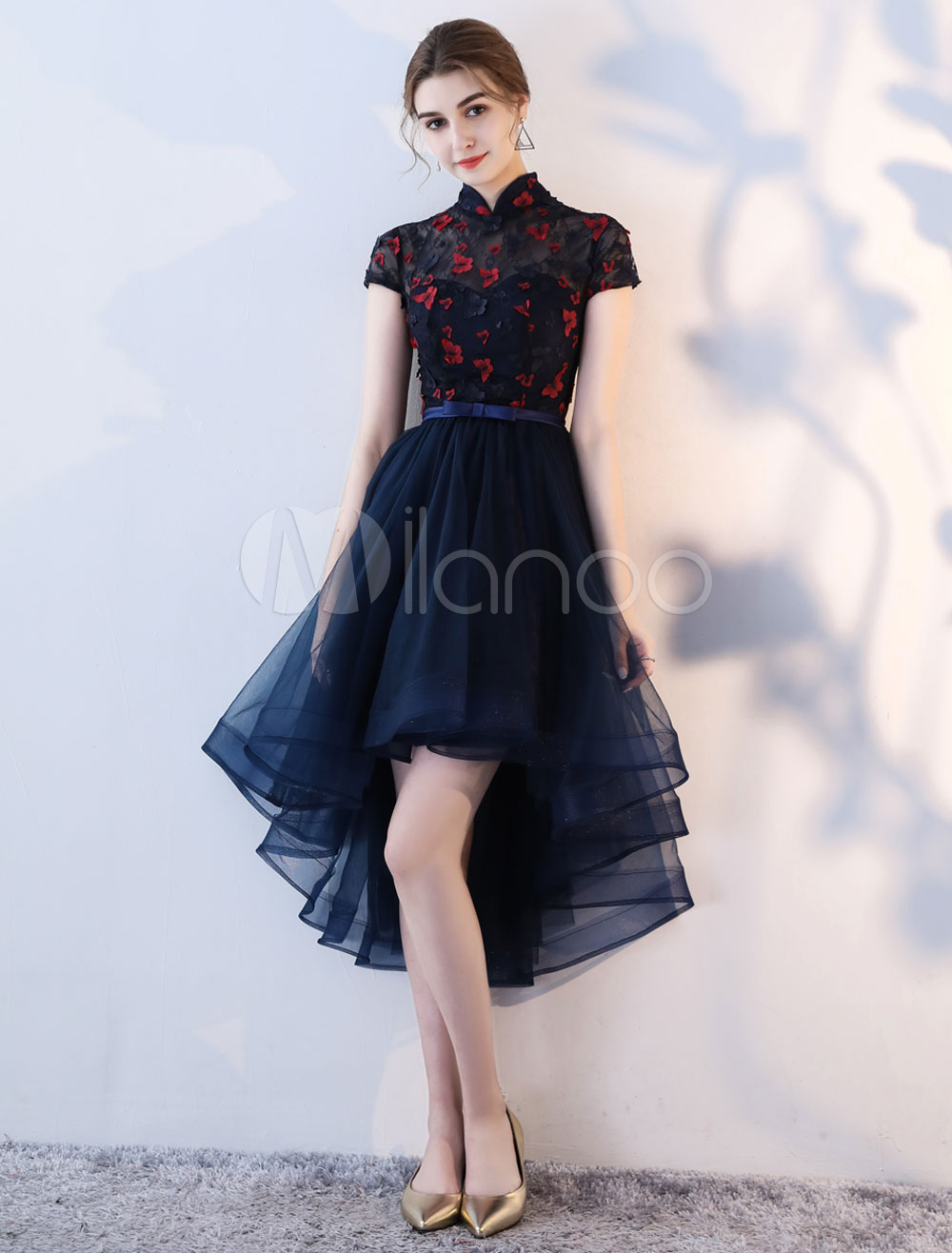 Cocktail Dresses Dark Navy High Low Graduation Dress Mandarin Collar Butterfly Bow Sash Party Dress