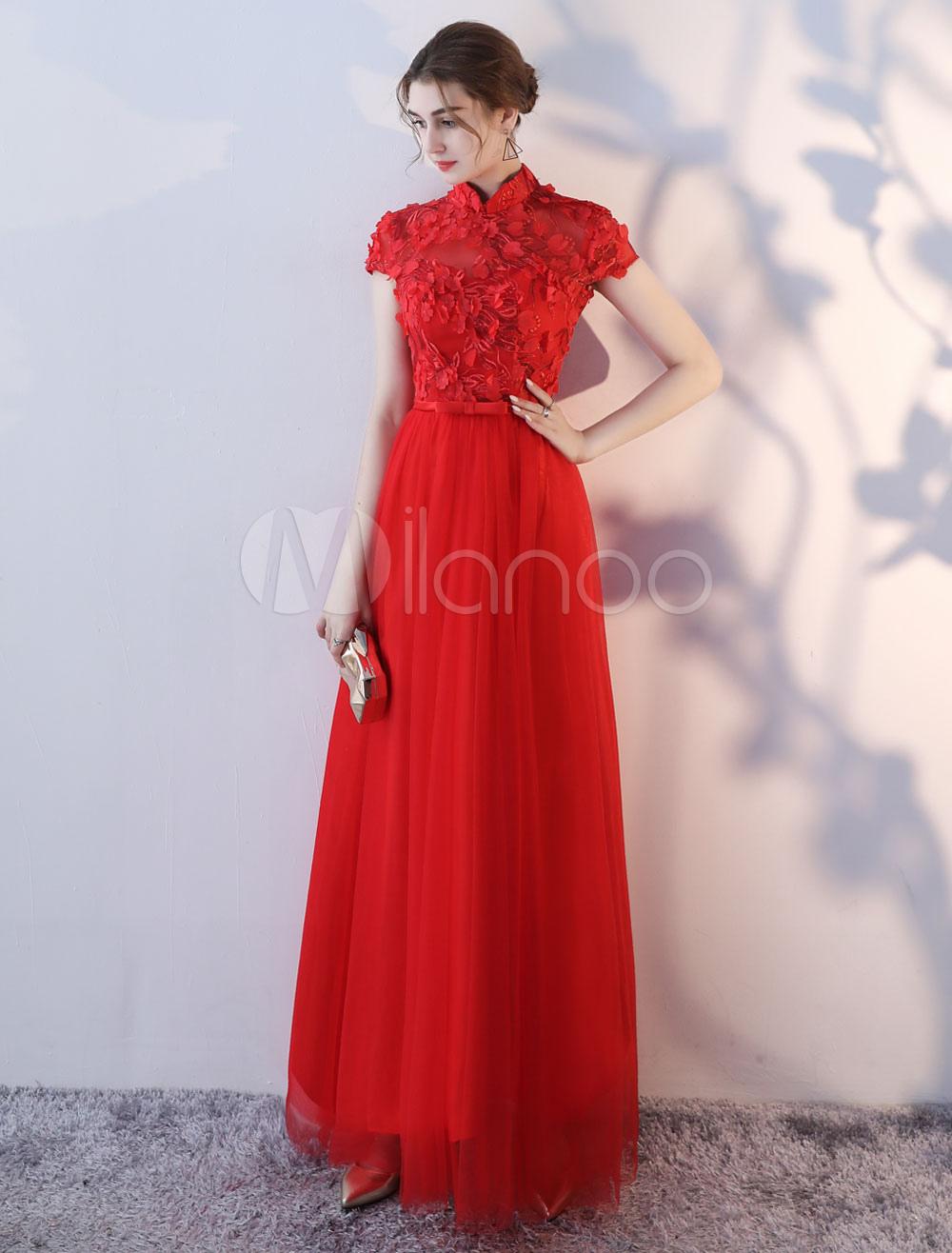 Buy Prom Dresses Long Burgundy High Collar Flowers Bow Sash Floor Length Formal Evening Dress for $87.99 in Milanoo store