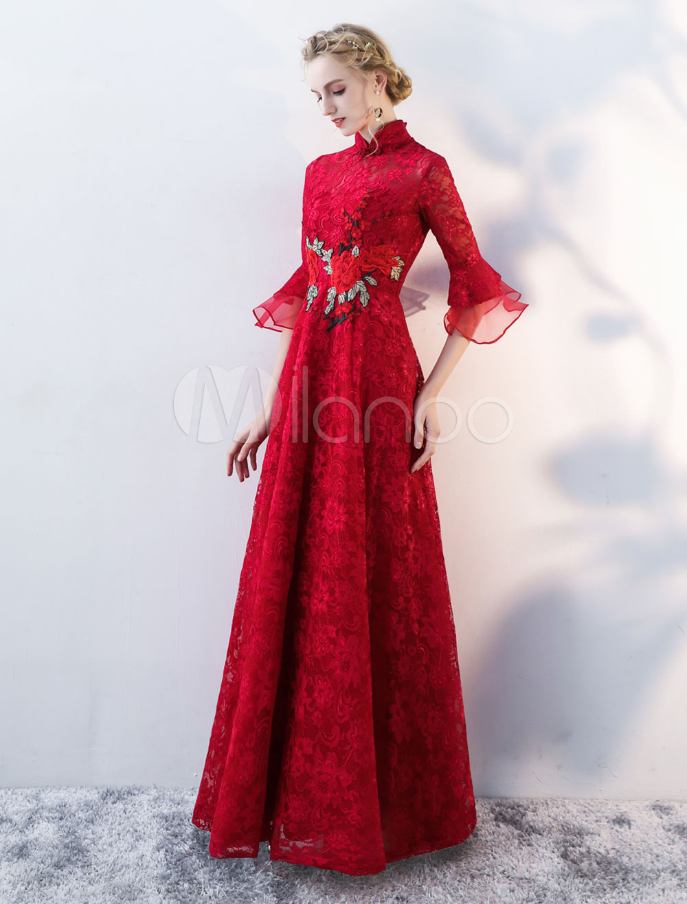 Buy Prom Dresses Long High Collar Bell Sleeve Evening Dress Lace Flowers Burgundy Floor Length Formal Dress for $118.79 in Milanoo store