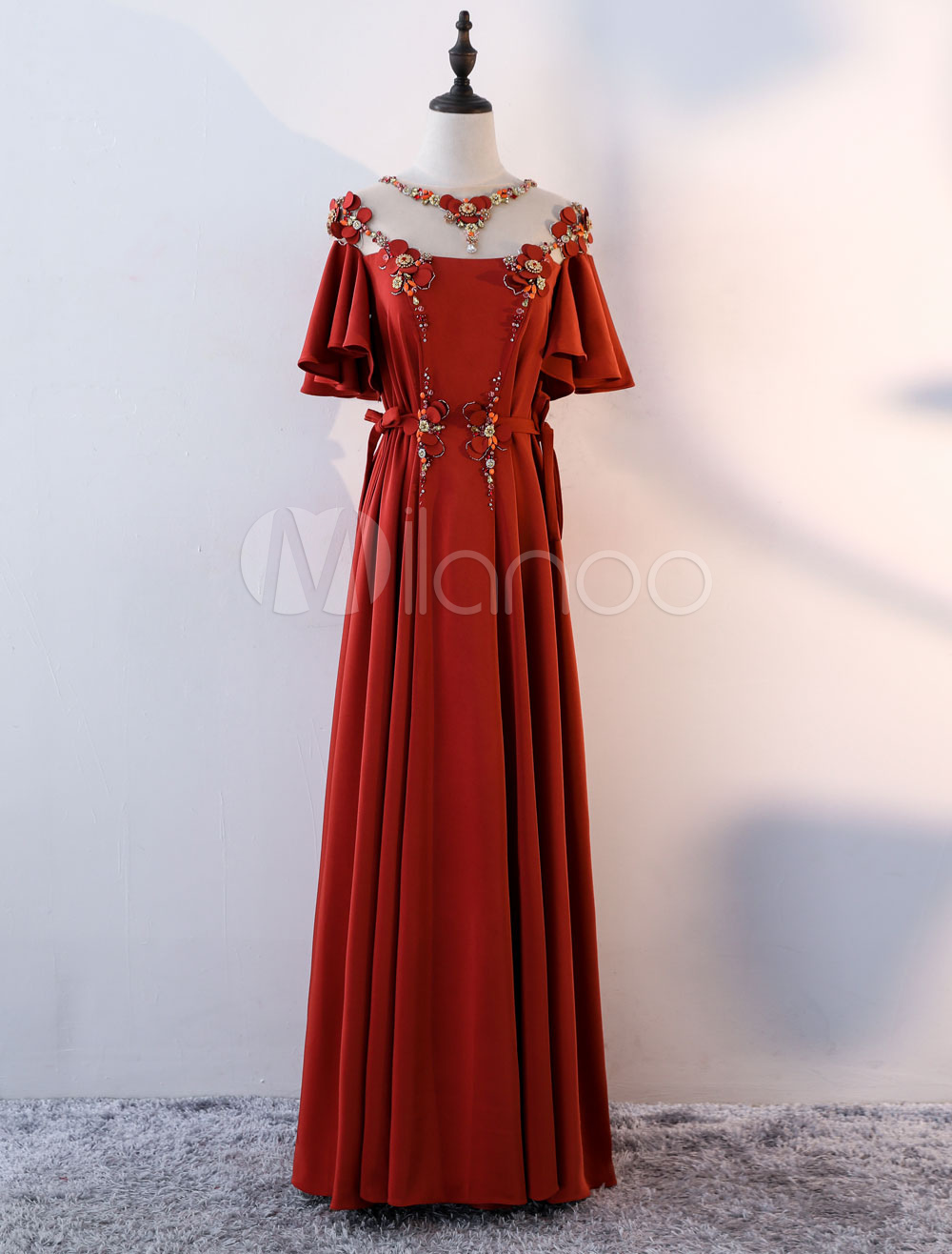 Evening Dresses Satin Burgundy Flowers Beaded Butterfly Sleeve Ruffles Illusion Ribbon Sash Formal Dress